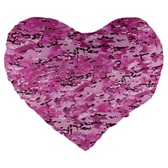 Pink Camouflage Army Military Girl Large 19  Premium Heart Shape Cushions by snek