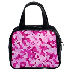 Standard Pink Camouflage Army Military Girl Funny Pattern Classic Handbag (two Sides)
