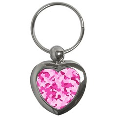 Standard Pink Camouflage Army Military Girl Key Chains (heart)  by snek