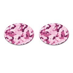 Standard Violet Pink Camouflage Army Military Girl Cufflinks (oval) by snek