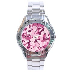 Standard Violet Pink Camouflage Army Military Girl Stainless Steel Analogue Watch by snek
