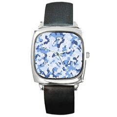 Standard Light Blue Camouflage Army Military Square Metal Watch