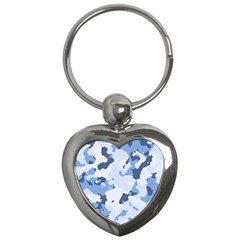 Standard Light Blue Camouflage Army Military Key Chains (heart)  by snek