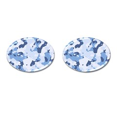 Standard Light Blue Camouflage Army Military Cufflinks (oval) by snek