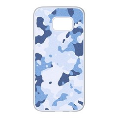 Standard Light Blue Camouflage Army Military Samsung Galaxy S7 Edge White Seamless Case by snek
