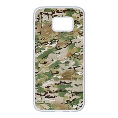 Wood Camouflage Military Army Green Khaki Pattern Samsung Galaxy S7 Edge White Seamless Case by snek