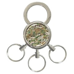 Wood Camouflage Military Army Green Khaki Pattern 3 Ring Key Chains by snek