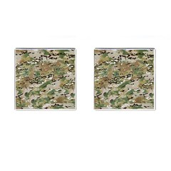 Wood Camouflage Military Army Green Khaki Pattern Cufflinks (square) by snek