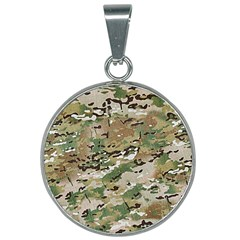 Wood Camouflage Military Army Green Khaki Pattern 25mm Round Necklace