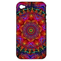 Kaleidoscope Pattern Ornament Apple Iphone 4/4s Hardshell Case (pc+silicone)