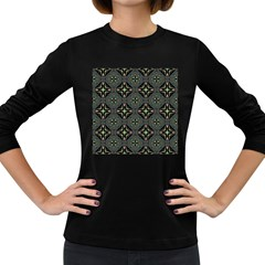 Kaleidoscope Pattern Seamless Women s Long Sleeve Dark T Shirt by Pakrebo