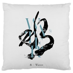 Water Calligraphy Large Flano Cushion Case (one Side)