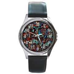 Stained Glass Mosaic Abstract Round Metal Watch
