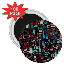 Stained Glass Mosaic Abstract 2 25  Magnets (100 Pack)  by Pakrebo
