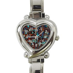 Stained Glass Mosaic Abstract Heart Italian Charm Watch by Pakrebo