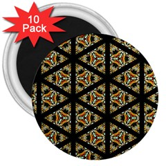 Pattern Stained Glass Triangles 3  Magnets (10 Pack)