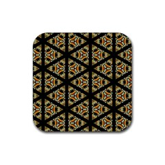 Pattern Stained Glass Triangles Rubber Coaster (square)  by Pakrebo