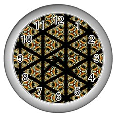 Pattern Stained Glass Triangles Wall Clock (silver)