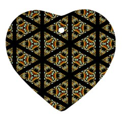 Pattern Stained Glass Triangles Heart Ornament (two Sides)