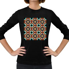 Stained Glass Pattern Texture Face Women s Long Sleeve Dark T Shirt