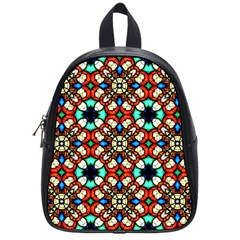 Stained Glass Pattern Texture Face School Bag (small)