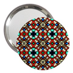 Stained Glass Pattern Texture Face 3  Handbag Mirrors