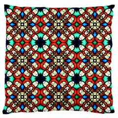 Stained Glass Pattern Texture Face Large Flano Cushion Case (two Sides) by Pakrebo