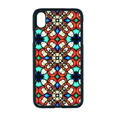 Stained Glass Pattern Texture Face Apple Iphone Xr Seamless Case (black)