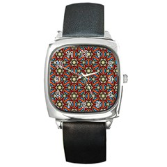Pattern Stained Glass Church Square Metal Watch