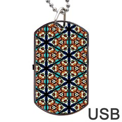 Church Window Stained Glass Texture Dog Tag Usb Flash (one Side)