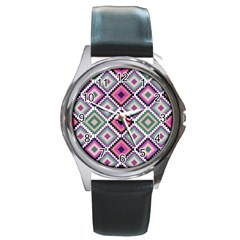 Native American Pattern Round Metal Watch