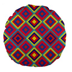 Native American Pattern Large 18  Premium Flano Round Cushions
