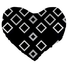 Native American Pattern Large 19  Premium Flano Heart Shape Cushions