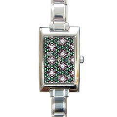 Stained Glass Pattern Church Window Rectangle Italian Charm Watch