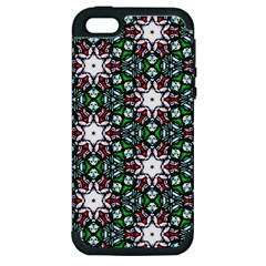 Stained Glass Pattern Church Window Apple Iphone 5 Hardshell Case (pc+silicone)
