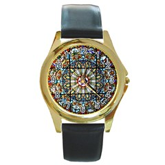 Vitrage Stained Glass Church Window Round Gold Metal Watch