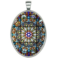 Vitrage Stained Glass Church Window Oval Necklace by Pakrebo