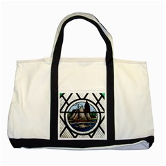 Window Image Stained Glass Two Tone Tote Bag by Pakrebo