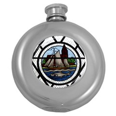 Window Image Stained Glass Round Hip Flask (5 Oz) by Pakrebo