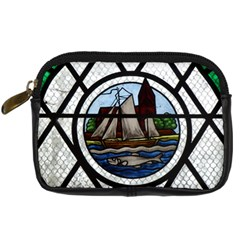 Window Image Stained Glass Digital Camera Leather Case
