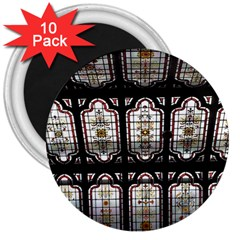Stained Glass Window Repeat 3  Magnets (10 Pack)