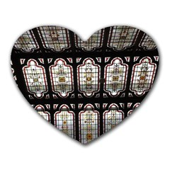 Window Image Stained Glass Heart Mousepads