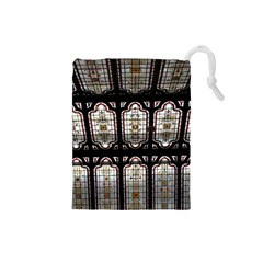 Window Image Stained Glass Drawstring Pouch (small) by Pakrebo