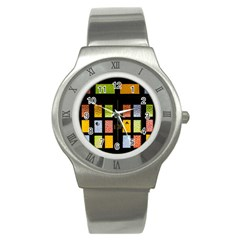 Window Stained Glass Glass Colors Stainless Steel Watch