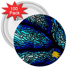 Sea Fans Diving Coral Stained Glass 3  Buttons (100 Pack)