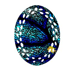 Sea Fans Diving Coral Stained Glass Oval Filigree Ornament (two Sides)