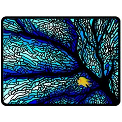 Sea Fans Diving Coral Stained Glass Double Sided Fleece Blanket (large)