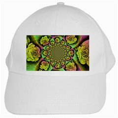 Rose Painted Kaleidoscope Colorful White Cap