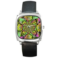 Rose Painted Kaleidoscope Colorful Square Metal Watch