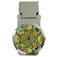 Rose Painted Kaleidoscope Colorful Money Clip Watches